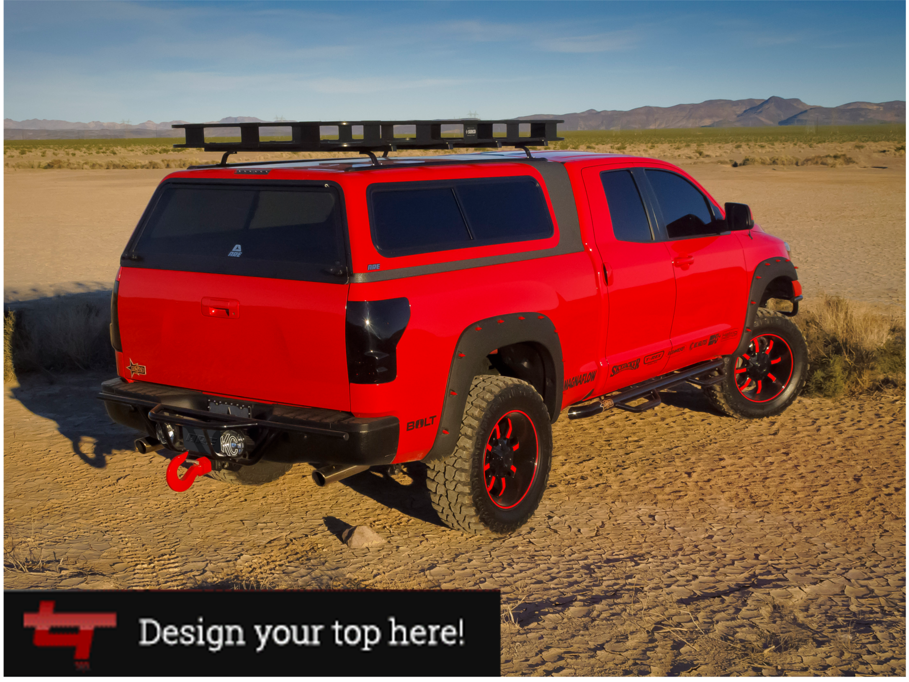ARE camper shells and truck tops with a rack